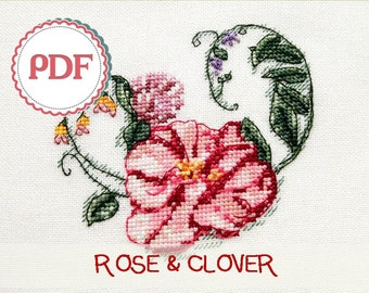 Rose and Clover cushion PDF Pattern \ Embroidered Pillow with Flowers \ Instant download PDF