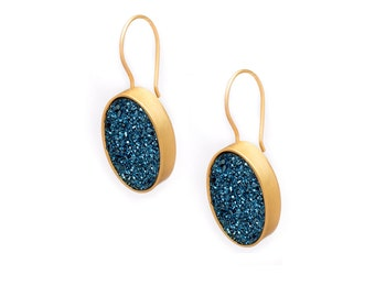 Druzy Drop Earrings - Royal Blue Druzy in Gold Earrings - Large Druzy Earrings - Oval Druzy - Dangle Earrings