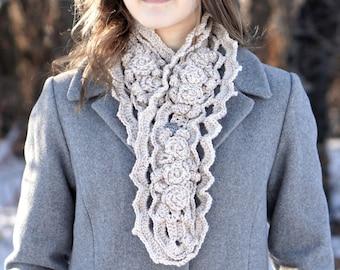 Elegant Rose Scarf, handmade scarf in a ivory, READY to SHIP,handpainted Merino Wool, Crochet Scarf, Rose Scarf