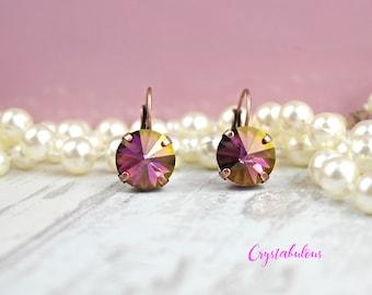 Pink Crystal Earrings, Crystal Earrings, Dangle Earrings, Drop Earrings, Swarovski Earrings, Fuchsia Earrings, Bridal Earrings, Earring.
