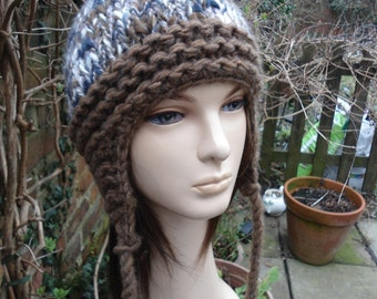SPECKLED pompom earflap hat chullo blue brown beige cream recycled by irish granny