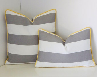 Grey, White and Yellow Outdoor Pillow Cover- Grey and White Stripe Pillow Cover - Grey and Yellow Outdoor Pillow Cover