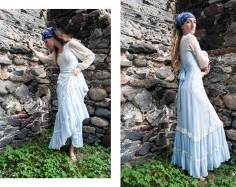 70s Gunne Sax by Jessica | San Fransisco light blue and white lace prairie maxi dress | size small