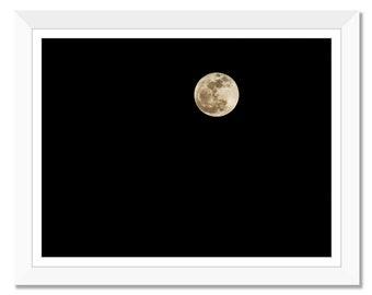 Full Moon, Black Sky, Night Sky, Moon, Photograph Print, Wall Art, Printable Art, Instant Download