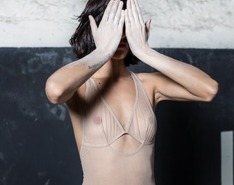 Bodysuit lingerie in nude see trough