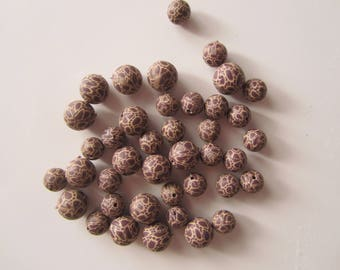 Set of 40 beads Fimo - giraffe pattern - 8/10 mm
