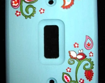 TURQUOISE Paisley Design Single Switch Plate Cover - Wood or Metal - Or ANY COLOR You Choose