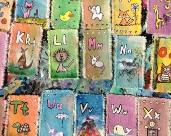 Custom hand painted Alphabet for children bookmarks
