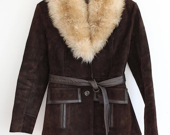 Vintage brown Real Suede afghan beige sheepskin Fur collar 60s 70s penny lane coat jacket S