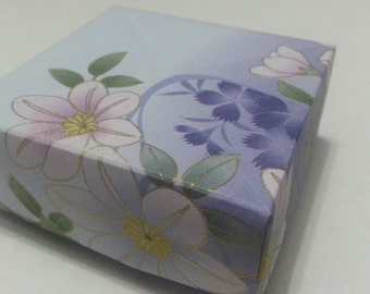 Origami Masu Boxes - Lovely Floral series with Shower Blue Purple Traditional Japanese Washi pattern