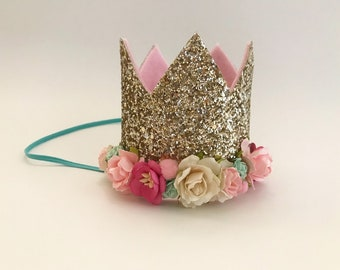 Silver glitter flower crown | Birthday Crown |  Child Headband | Crown Headband | 21st Crown | 40th Crown | Adult Crown