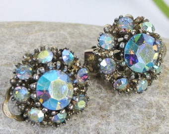 Vintage SPHINX Aurora Borealis Blue Rhinestone Earrings, Cluster Earrings, Signed, Clip Ons, Non Pierced Ear, Circle, 50s