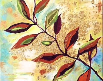 Leaf Branch 12x12 art, acrylic, painting, mixed media, canvas, spring, tree, arbor, nature, decor, gift, birthday anniversary Ships Free!