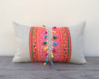 "Vintage Textiles Ethnic Hand Embroidered Tassel Patch Work Pillow Case 12"" x 20 Pieces Of Retro Tribal Costume"