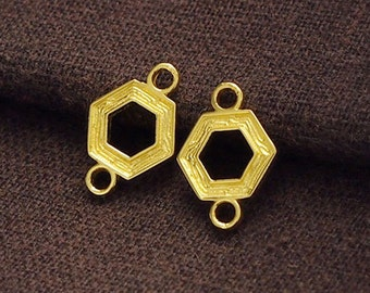 2 of 925 Sterling Silver 24k Gold Vermeil Style Textured Hexagon Links , Connectors 10mm.  :vm0642