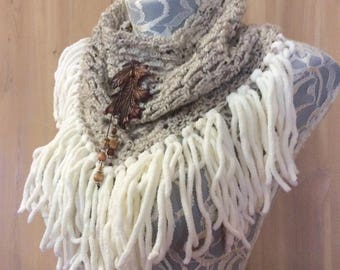 Autumn Oak cowl... knit crocheted fringed yarn soft scarf leather tie bohemian boho