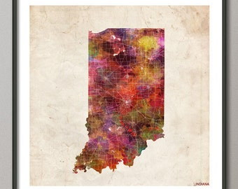 INDIANA Map, Map of Indiana, State, Watercolor painting, Poster Indiana, Modern Abstract, Poster Print, Wall Art, Home Decor, Decoration