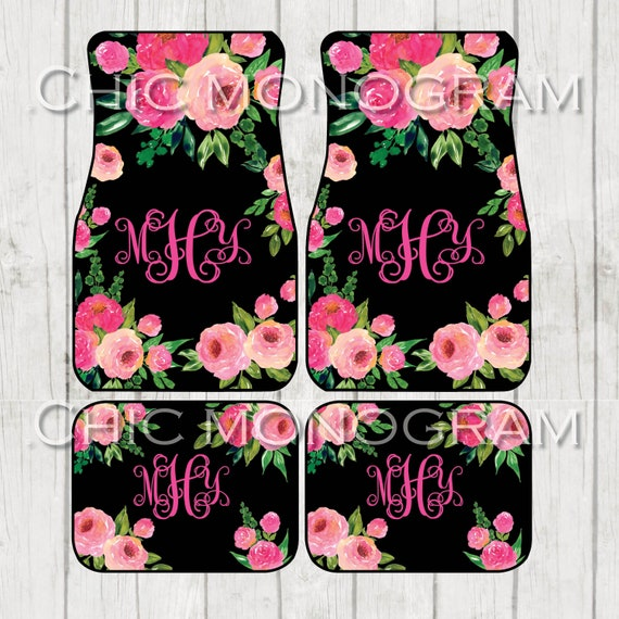 Roses Floral Monogrammed Car Mats Classy Black Monogram Carmats Car Floor Mats Custom Car Accessories For Her Car Decor Cute Car Accessories