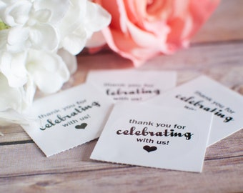 Thank you for celebrating with us Wedding Stickers, cute wedding stickers, thank you stickers, wedding stationery