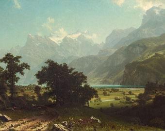 """Albert Bierstadt : """"Lake Lucerne"""" (1858) - Giclee Fine Art Print"""