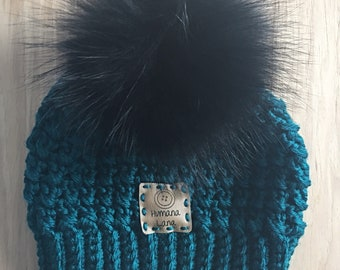 Hat, winter hat with Pompom of fur to choose
