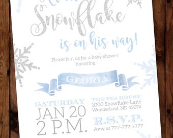 Winter Baby Shower, Invitation, Snowflake, Shower Invite, Winter Boy Baby, Shower Invitation, Baby Its Cold, Outside, Invite #003