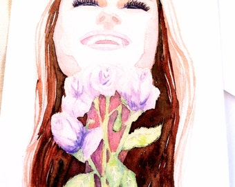 Girl smell roses fashion watercolor illustration flat note card