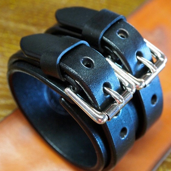 Leather cuff bracelet Black bridle leather Wristband with double straps handmade for You in USA by Freddie Matara