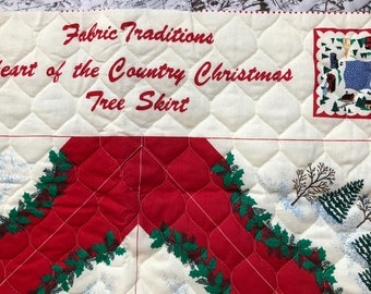 1992 Fabric Traditions, Heart Of The Country Christmas, Tree Skirt, Quilted Fabric Panel