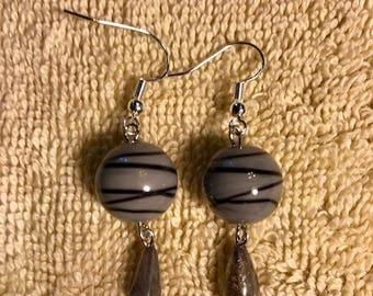 Ladies zebra jasper and labradorite dangle earrings.