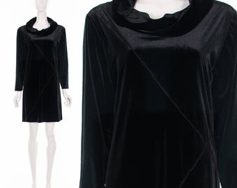90's Black Velour ASYMMETRIC PATCHWORK Minidress Deep Turtle Neck Raver Dress Y2K Dress Edm Dress Burning Man Style Medium