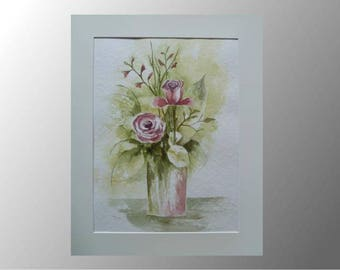 watercolour painting flowers roses