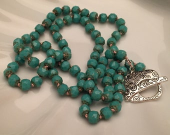 Turquoise Faceted Hand-Knotted Beaded Necklace
