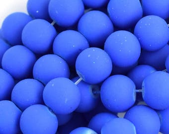 """8mm frost matte glass round beads 15"""" strand blue 35926"""