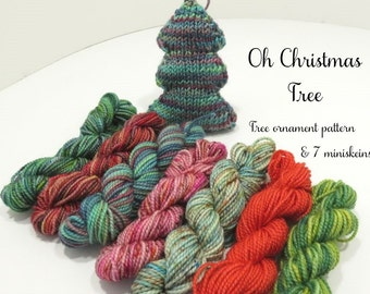 Oh Christmas Tree Ornament Kit   7 Sock yarn minis and FREE pattern