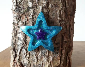 Blue Star Necklace, Star Shaped Pendant, Blue Glitter Jewellery, Statement Necklace, Glitter Necklace, Iridescent Glitter, Gift for Her