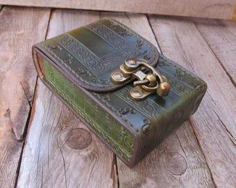 Green Tan Tarot leather Deck box Tarot bag Original Rider Waite Tarot leather case Tarot Card holder Leather bag Tarot card deck