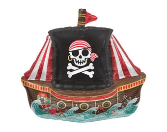 "14"" Pirate Balloon - Pirate Birthday - Pirate Party Decorations - Nautical Birthday Supplies - Mylar Balloons - Ahoy Matey - Pirate Ship"