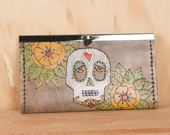 Leather Checkbook Wallet -  Womens Clutch Wallet - Walden Pattern with Sugar Skull and Flowers -  Handmade