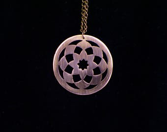 Handcut Copper Mandala Pendant