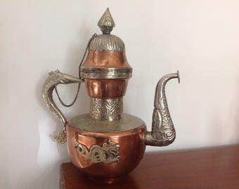 Vintage Copper Brass and Silver Tone Dragon Teapot