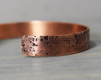 Textured Copper Cuff, Bracelet - 1/4 Inch Galaxy Cuff