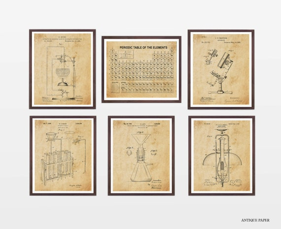 Science Poster Collection - Science Patent - Patent Posters - Periodic Table - Chemistry - Science Art - Science Wall Art - Microscope Art