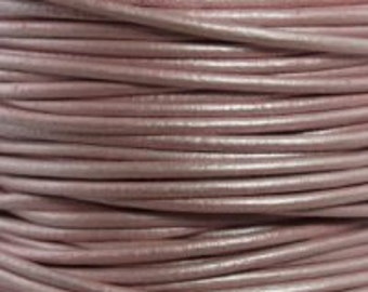 1mm Round Leather Cord Metallic Suraiya Pink Rose Red : 2 yards 1.83m