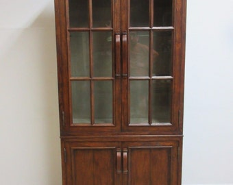 Jonathan Charles Distressed Plank Walnut China Curio Cabinet Book Case Display B