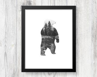 Bear Art Print - Nature Art Print - Forest Art Print - Digital Download - Printable Wall Art - Wildnerness Art - Nature Lover Gift -