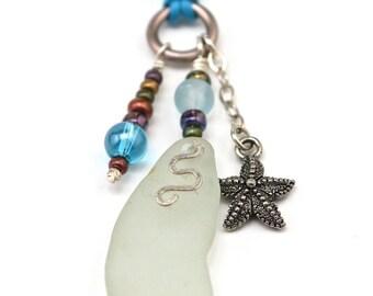 PEI Adjustable Aqua Sea Glass Necklace with starfish charm and glass beads