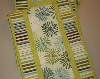 """Contemporary Modern Quilted Table Runner Blue Green Starburst Stripes, 13 x 70"""", Reversible, Cotton, Dining Coffee Table Buffet Handmade"""