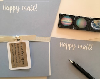 Embossed Note Cards, Flat Note Cards, Stationery Set, Happy Mail