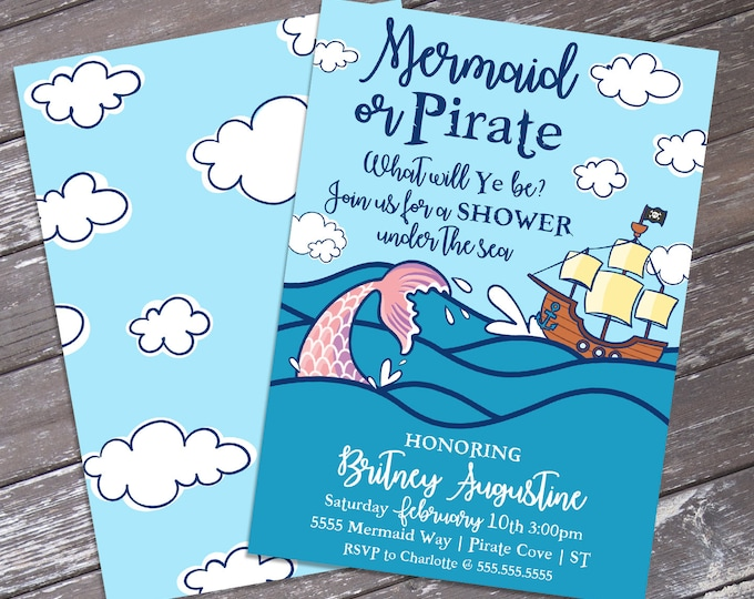 Mermaid & Pirate Baby Shower Invitation - Pirate and Mermaid Gender Reveal Party | DIY Editable Text INSTANT DOWNLOAD Printable